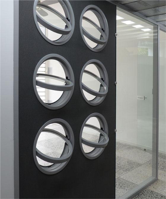 tilted building portholes