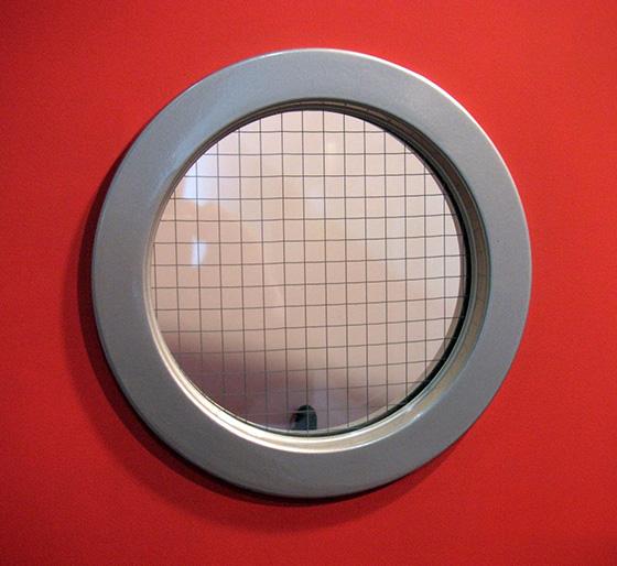 peephole porthole red door
