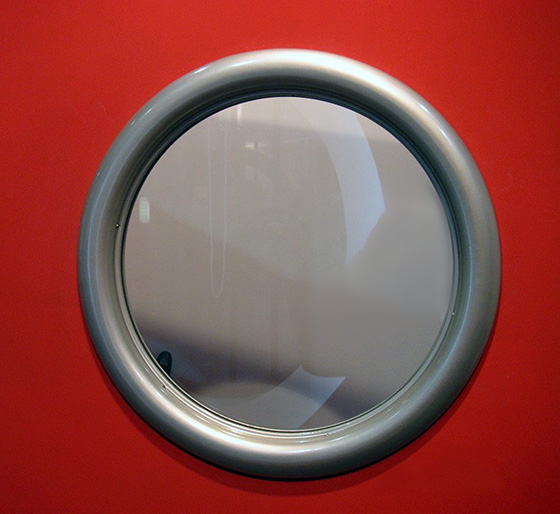 peephole porthole red door