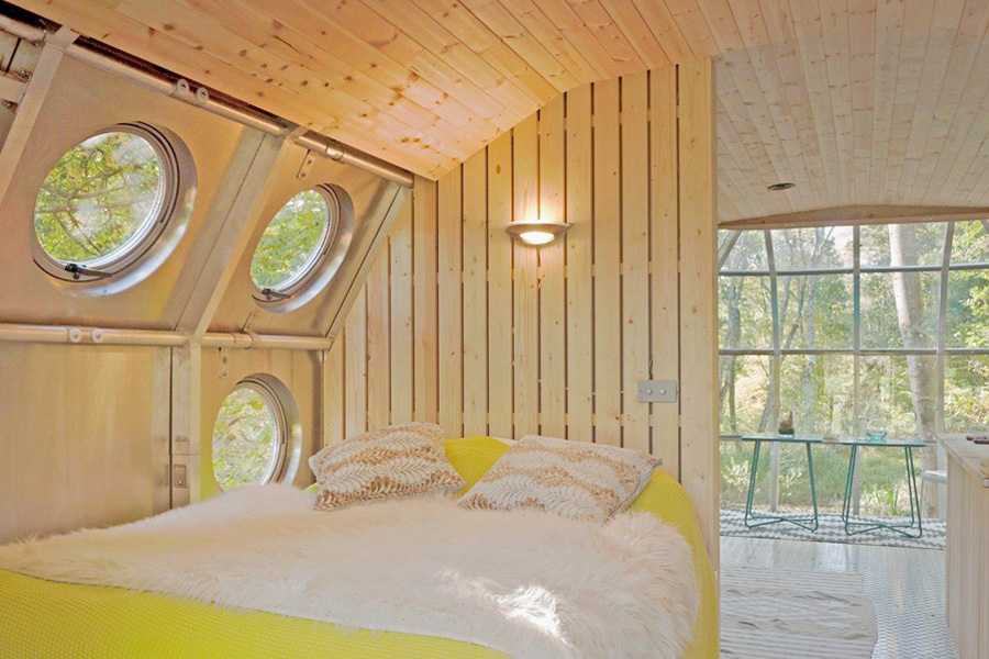 titled portholes in cabin