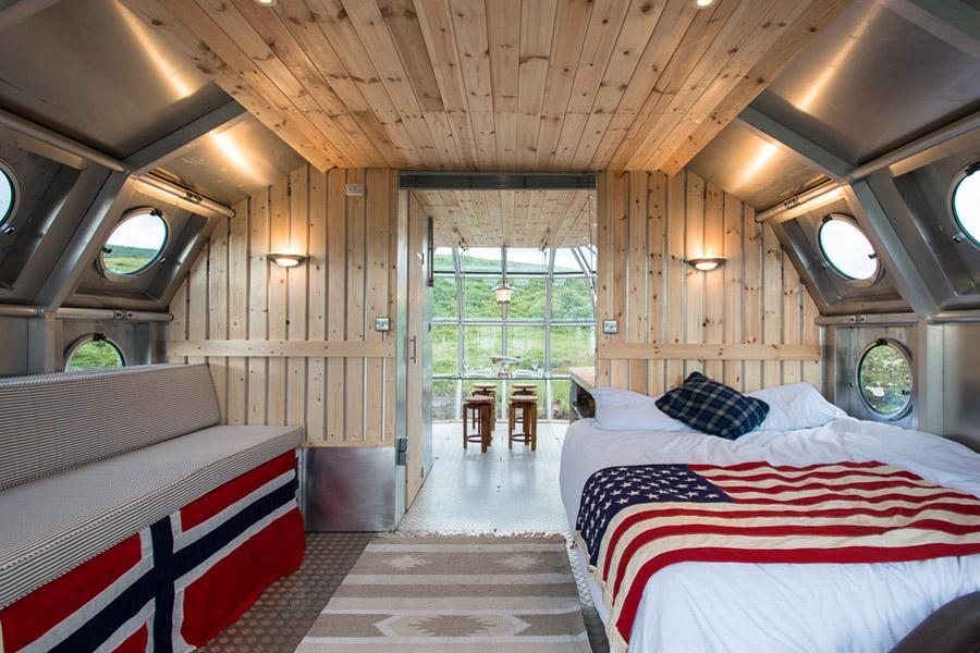 tilted porthole in cabin
